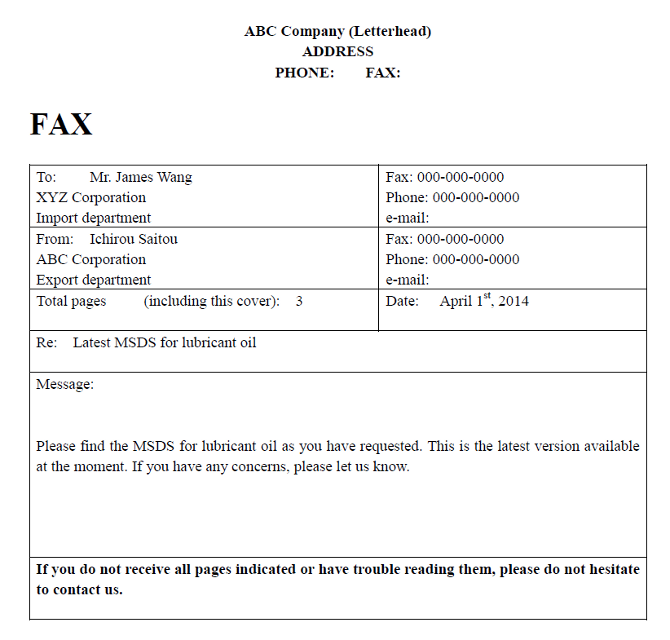 英語でのFAX送付状、カバーレターのテンプレートのテンプレートの関連例文